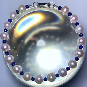 Genuine Pearl & Lapis Gemstone Bracelet!